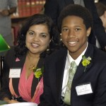"""Literary Light"" author Mitali Perkins and her student presenter Kingsley Umemba, who attends Beacon Academy"
