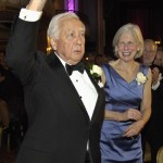 Author and historian David McCullough, with BPL president Amy Ryan smiling, acknowledges the standing ovation after his keynote address