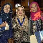 Alhuda Academy (Worcester) principal Sawson Berjawi, winning student Al-Madinah Xhemalallari, and teacher Ayesha Osmany