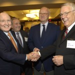 Honoree Dr. Cary Akins, right, greets Jack Welch with Bob Popeo & Mike Barnicle looking on
