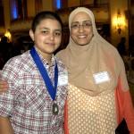 Winner Aiman Najah, from Holten Richmond School (Danvers), and his mother Samira Najah