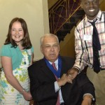 Mayor Menino accepts the dedication from winners Molly Durant (Mary Lyon School), and Ky'von Ross (Martin Luther King School)