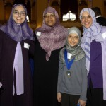 Winning student Mariam Hassan, from Malik Academy (Roxbury) with principal Amina El-Alami, teacher Joan Richardson, and Mona Abozena