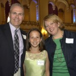 Winning student Caitlin Cooper, from Boston Collegiate Charter School (Dorchester), and her parents Joseph and Michele