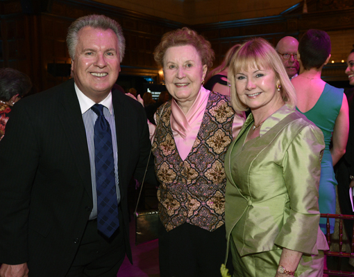 Former Boston Conservatory board chair Mimi Hewlett, center, with Ed Schmidt and Jean Hackett