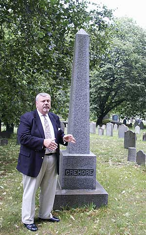 "Multi-talented historian and author Anthony Sammarco, pictured here giving a tour of famous family burial plots in the Milton Cemetery, will participate in the upcoming ""Author Meet & Greet"" at the Urban College of Boston. (2008 File Photo (c) Hilda M. Morrill)"