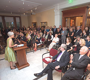 Nancy Netzer, Director of the McMullen Museum of Art, welcomes guests to a special event at the Museum. (Photo courtesy of McMullen Museum of Art, Boston College)