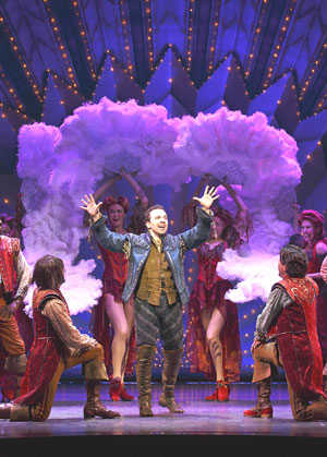 "Broadway principal Rob McClure (center) reprises his role as Nick Bottom in the official launch tour of ""Something Rotten"" at the Boston Opera House. (Photo (c) Joan Marcus)"