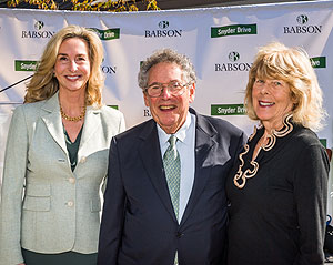 "Pictured at the ""Snyder Drive"" naming ceremonies are: (left to right) Babson College President Kerry Healey, Richard J. Snyder and Marilyn B. Snyder. (Photo courtesy of Duane Morris)"