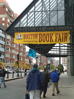 The Hynes Convention Center marquee announces the upcoming Boston Antiquarian Book Fair. (File photo courtesy of CommPromo)
